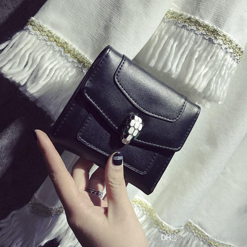 Schlangenkopf Haspe Frauen Falten Brieftasche Handtasche Pu-leder Kurze Geldbörse Kleine Geldbörse Mini Geldbeutel