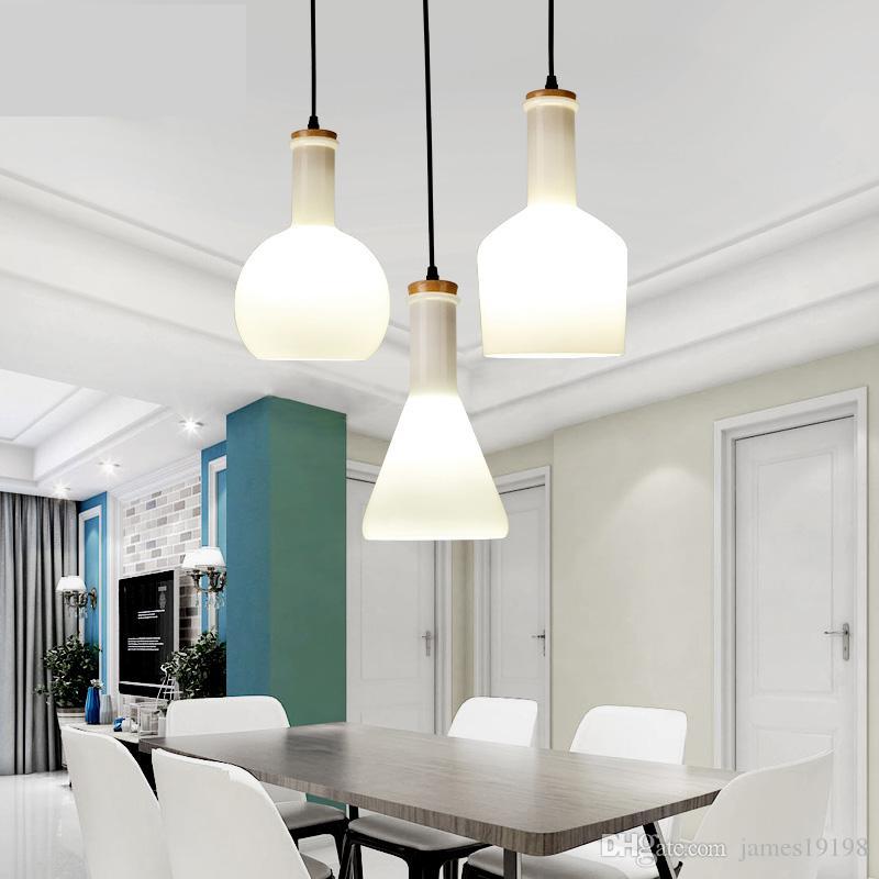 Super Großhandel Weiße Glasflasche Moderne LED Pendelleuchten Glas AG09