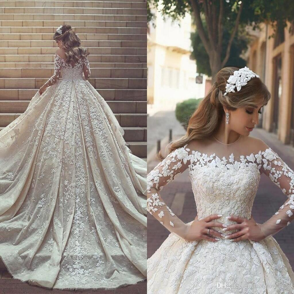 2018 Sexy Sheer Jewel Neck Ball Gown Wedding Dresses Crystals Ruffles  Appliques Illusion Long Sleeves Cathedral Train Plus Size Bridal Gowns  Green Dresses ... 9793daac0594