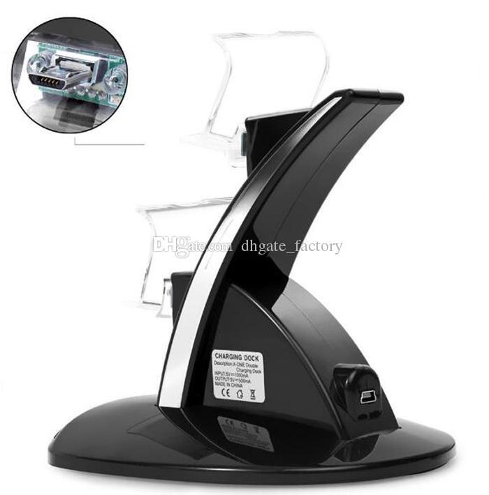 LED Dual Dock Charger Mount USB Suporte de Carregamento Para PlayStation 4 PS4 Xbox One Gaming Controlador Sem Fio Com Caixa de Varejo Venda Quente