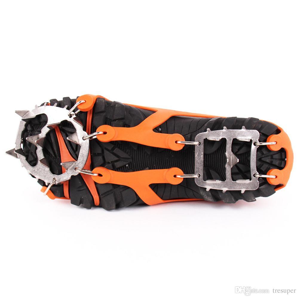 1 쌍의 겨울 크램폰 얼음 눈 등산 안티 슬립 아이스 클리트 그리퍼 신발 커버 체인 스파이크 샤프 스노우 그리퍼 크램폰 2 크기