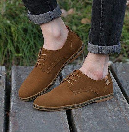 05b664df Compre 2017 Hombres De La Manera Zapatos Casuales Nueva Primavera Hombres  Pisos Con Cordones De Gamuza Masculina Oxfords Hombres Zapatos De Cuero  Zapatillas ...