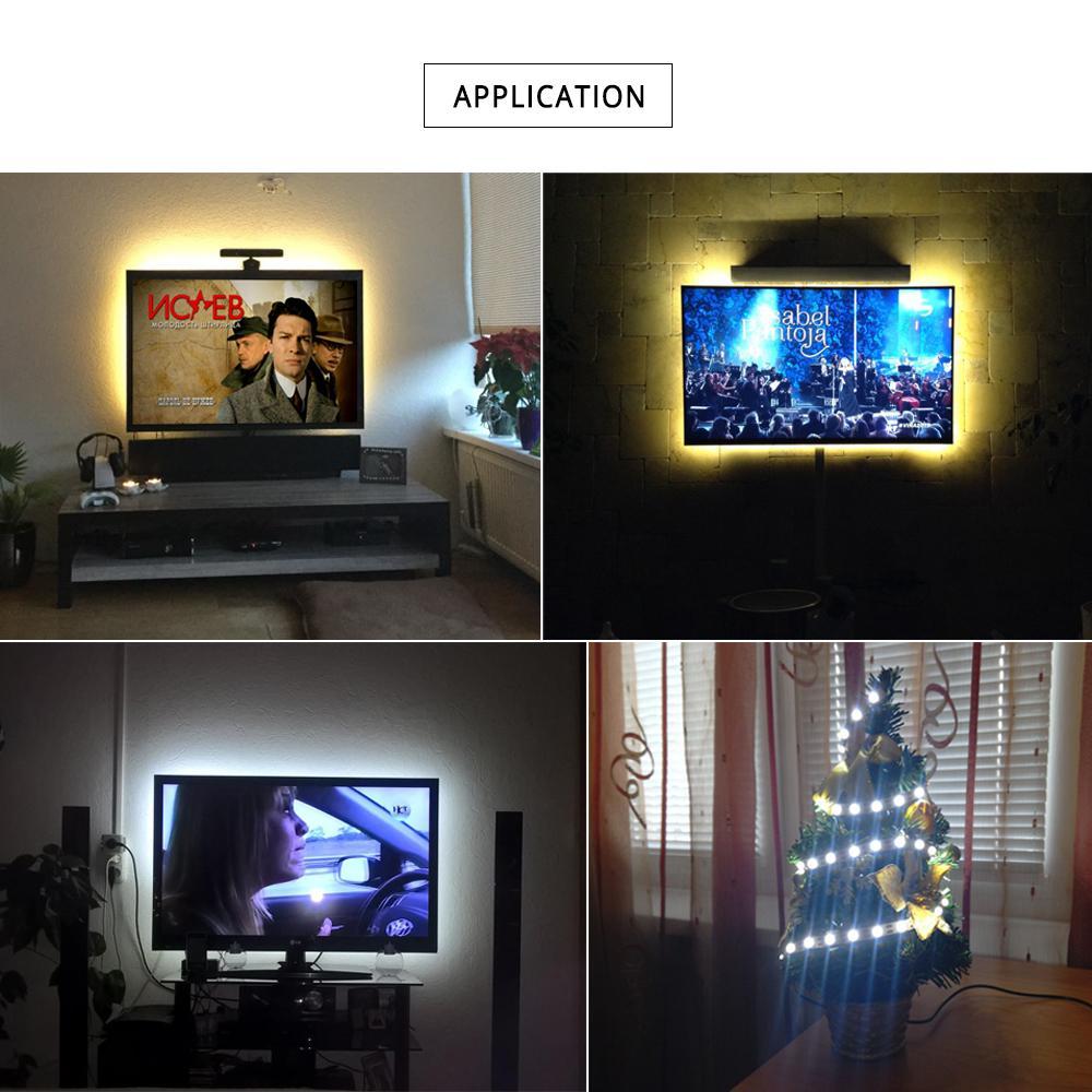 USB LED bande lumineuse bande DC5V 2835 RGB vacances décoration USB LED lampe chaîne ruban TV ordinateur rétro-éclairage allumer 1 m 2 m 3 m 4 m