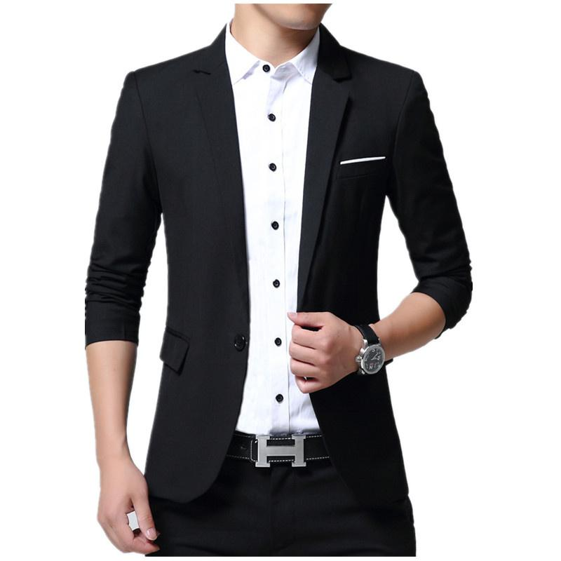 2019 Fashion Casual Blazer Men Slim Fit Two Types Button Choice