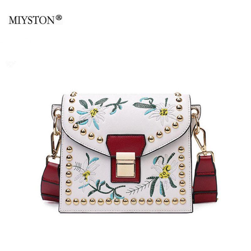 1417b8d12a Women Embroidery Flower Flap Bags Fashion Rivet PU Leather Messenger Bag  2018 Feminina Ladies Mini Crossbody Shoulder Bag 5br077 Men Bags Handbag  Wholesale ...