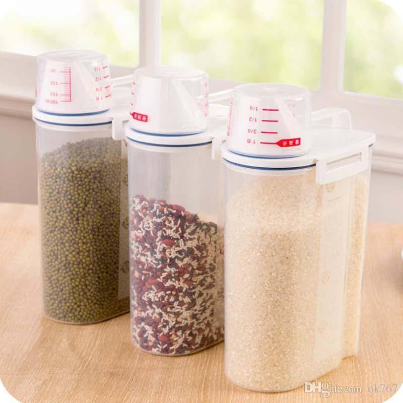 Best New Portable Rice Bucket With Cup Kitchen Miscellaneous Grains Storage Plastic Sealed Cans Grain Food Storage Cans Under $12.29 | Dhgate.Com & Best New Portable Rice Bucket With Cup Kitchen Miscellaneous Grains ...