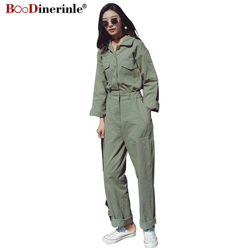 c4929b33397 2019 Safari Style Female Jumpsuit Army Green Spring Plus Long Sleeves 2018  High Waist Loose Harajuku BF Wind Suits Pants Summer XZ034 From Harrietai