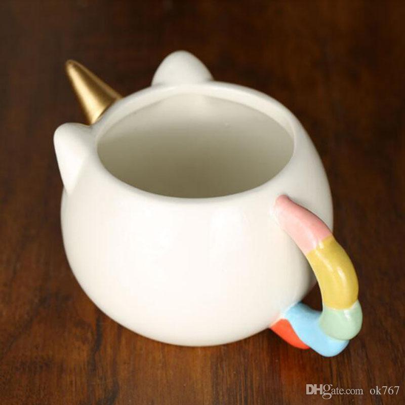 Nuovo regalo di cosplay creativo sveglio della tazza dell'unicorno della tazza di caffè 3D della tazza di caffè 3D della ragazza del bambino dell'unicorno DHL libero