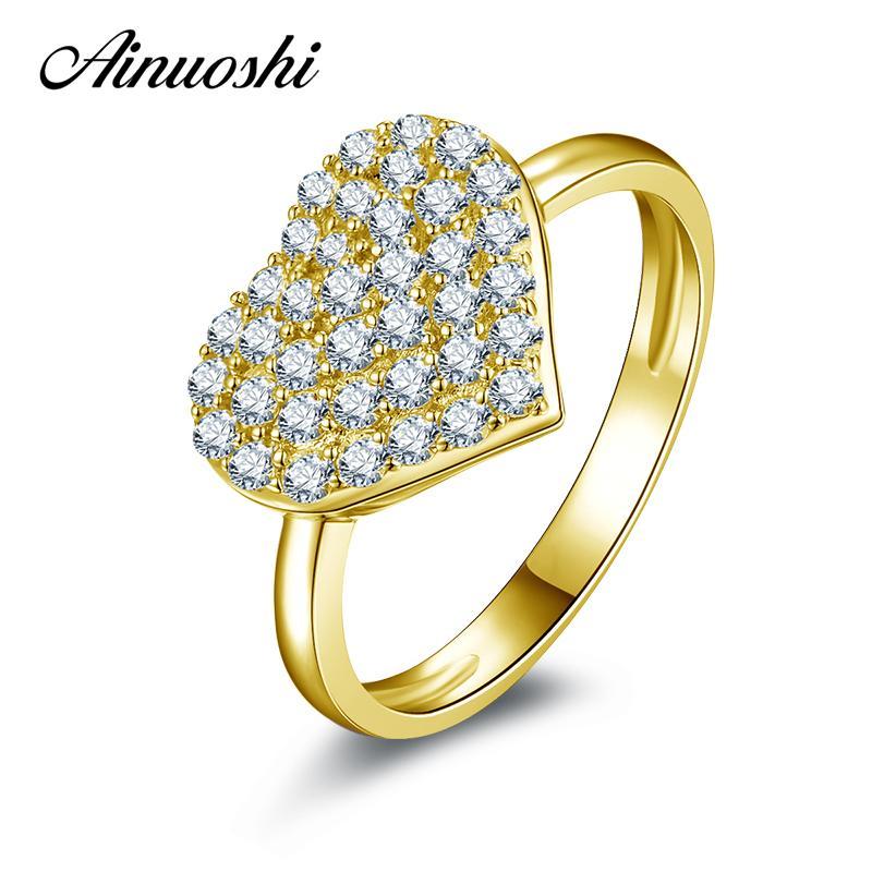 7e24dca3e05d Compre AINUOSHI 10 K Oro Amarillo Sólido Anillo De Bodas De Las Mujeres  Sona Joyería De Diamantes Simulados En Forma De Corazón Anillos De  Compromiso De ...