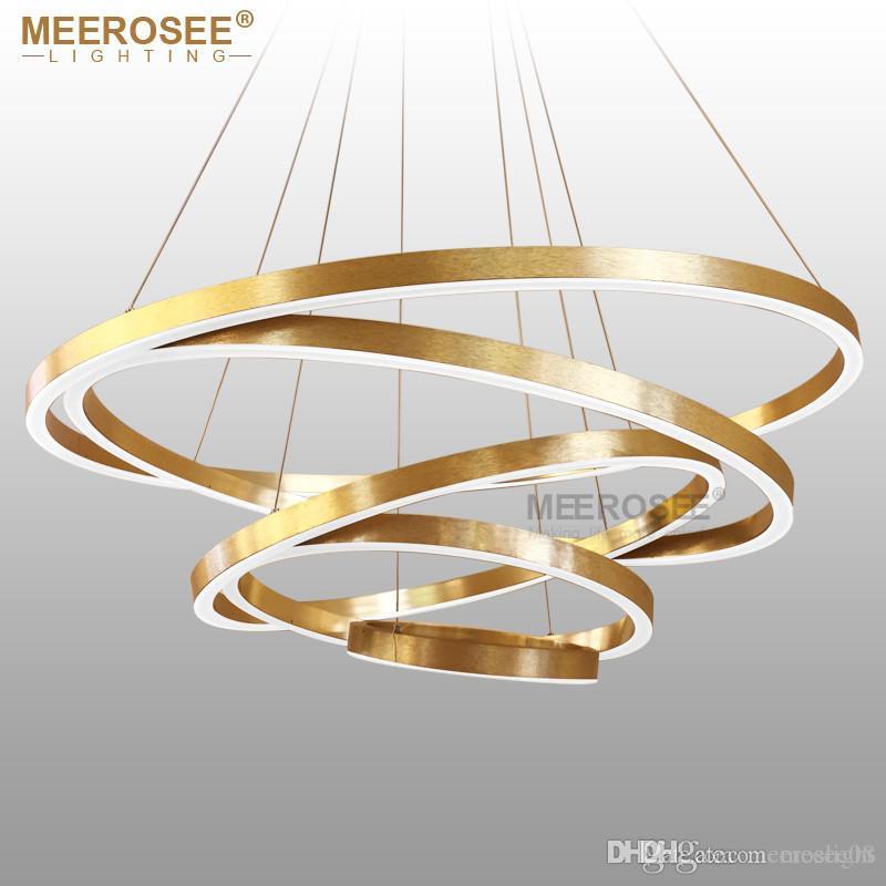 Large Rings Led Chandelier Lights Gold Hanging Lamp For Restaurant Acrylic Circle Lampadario Res Lighting Bubble Lantern