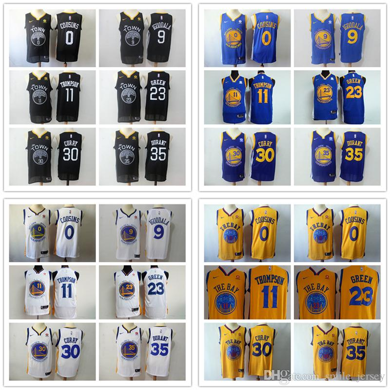 334652508 2018 2019 Mens 30 Stephen Curry 11 Klay Thompson 35 Kevin Durant 23  Draymond Green 0 DeMarcus Cousins 9 Andre Iguodala Warriors Basketball  Jersey From ...