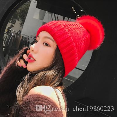 Autumn And Winter Female Oversized Fox Fur Ball Wool Cap Warm Knit Hat  Twist Wool Cap Ladies Wholesale Straw Cowboy Hats Sun Hats For Men From  Chen19860223 4329ae2d132