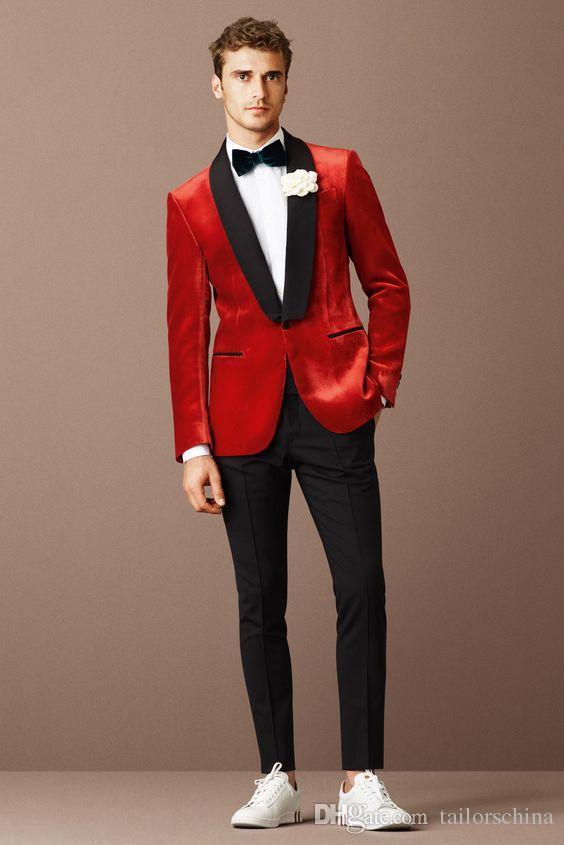 New-Design- Red-Classic-Men-s-Suit-Prom-Party-Blazer-Tuxedo Wedding Tuxedos Slim Fit Wedding Suits Jacket Vest and Pants Set