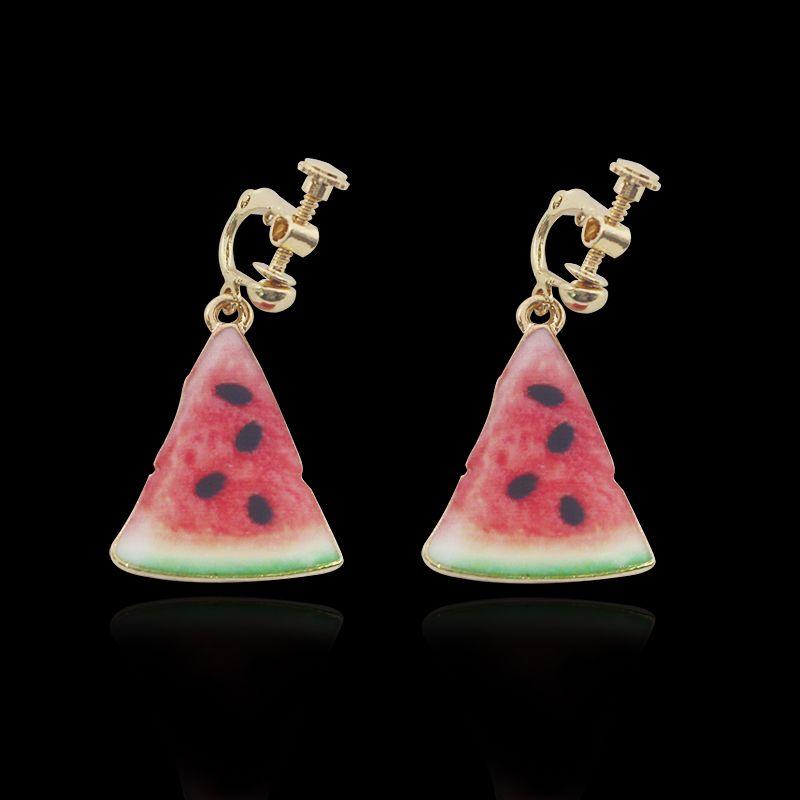 Trendy Fruit Design Watermelon Clip Earrings For Women Sweet Lovely Summer Tassel Long Drop Earrings Ear Cuff Clip Brinco