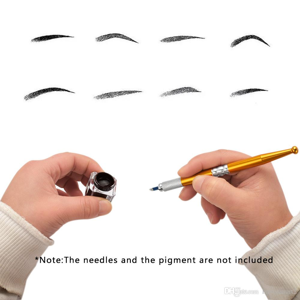 Permanent Makeup Eyebrow Pen Tattoo Manual Microblading Needles Cosmetic Embroidery Blade Red Gold Pink Tattooing Supplies
