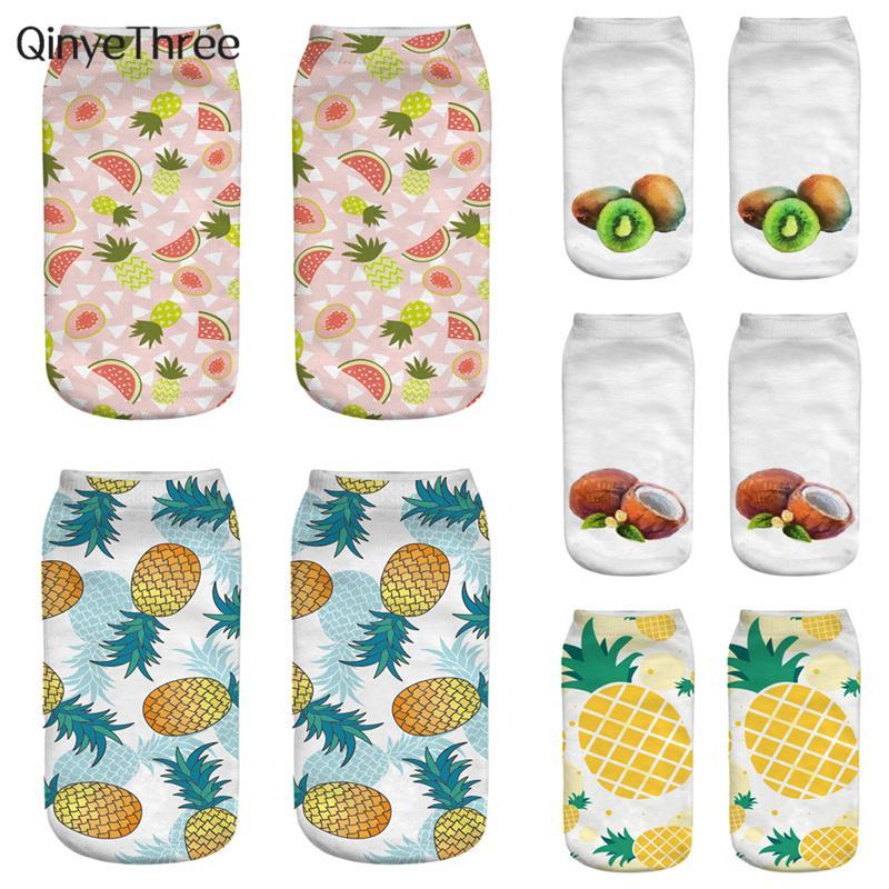 Satın Al Yeni Moda 3d Baskı çorap Tropikal Meyve Boyama çorap Karpuz