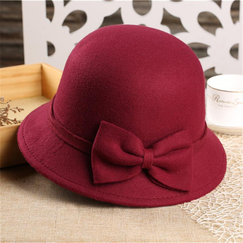 648a8ffb24d 2019 LUCKYLIANJI Fashion Women Wool Felt Dome Round Top Fedora Bowler Hat  Lady Vintage Elegant Bowknot Cloche Warm Winter Caps From Ancient88