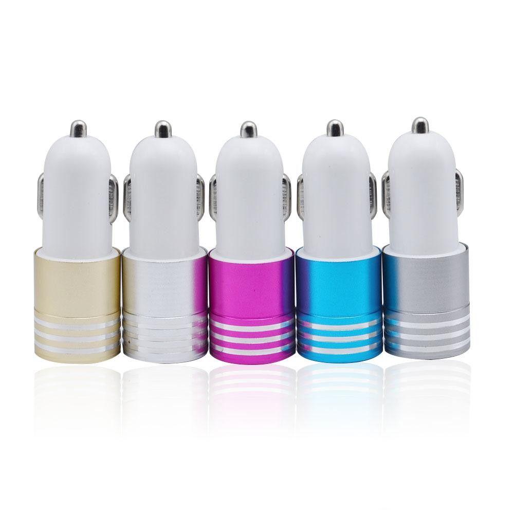 Caricabatteria da auto USB auto USB LED caricabatteria da auto con LED USB in lega di alluminio 2.1A + 1A Caricabatterie iPhone x 8 7 Samsung S9 S8