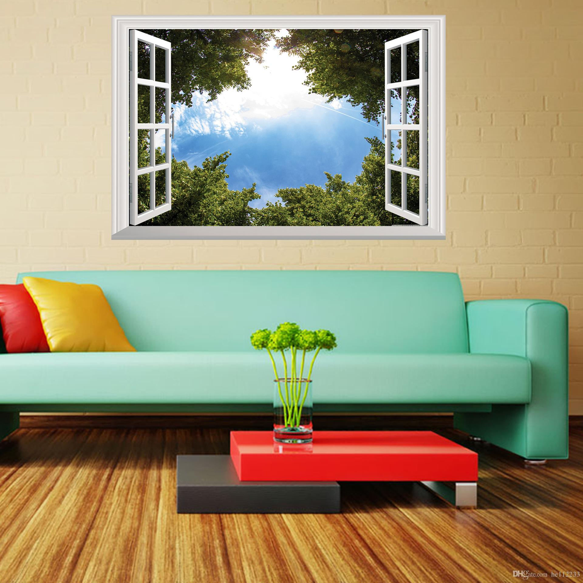 Large Wall Pictures For Living Room: Green Tree Blue Sky 3D Wall Poster Living Room Bedroom