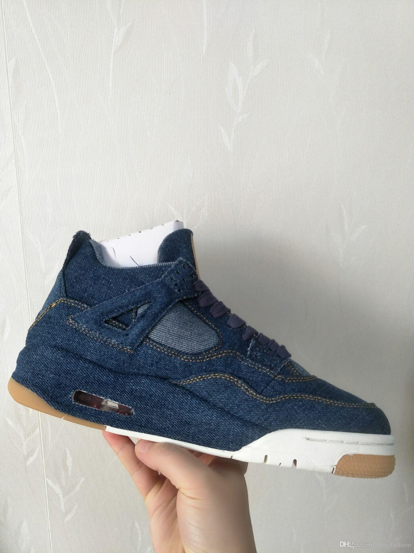 4 denim NRG Blue Black White Jeans Basketball Shoes with original box 4s denim Travis Jeans Sports Shoes sneaker shoes