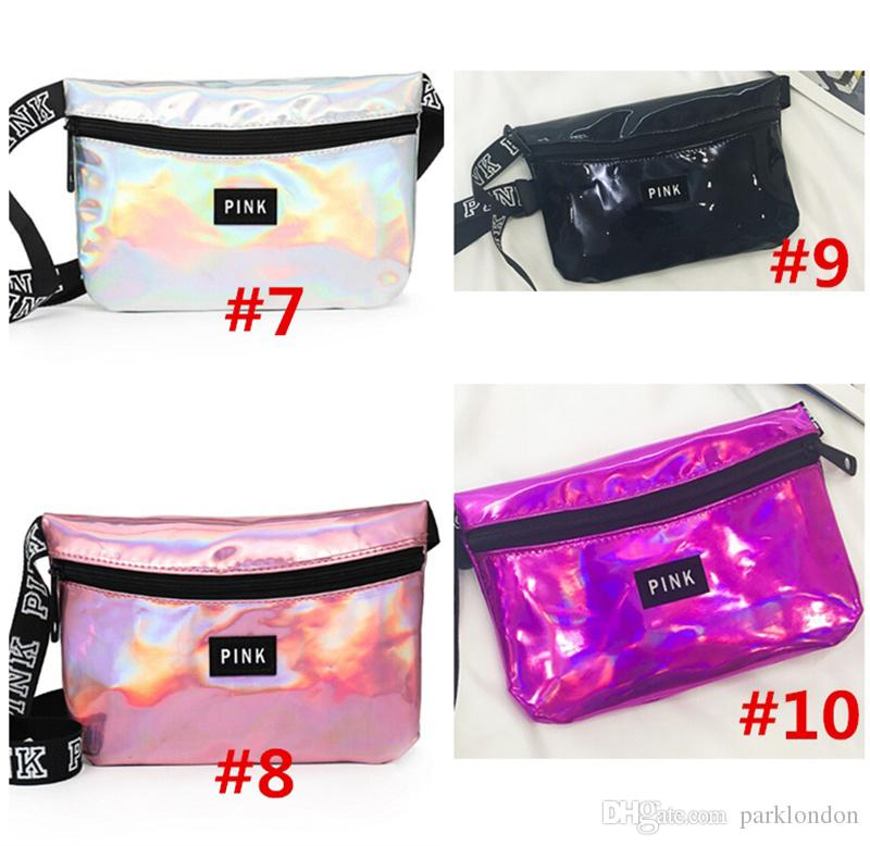 3aea658dbc hot Pink letter Laser Waist Bag LOVE PINK Rainbow Hologram Shiny Fanny Pack  PACKS Translucent Waterproof Beach Bags Women Crossbody