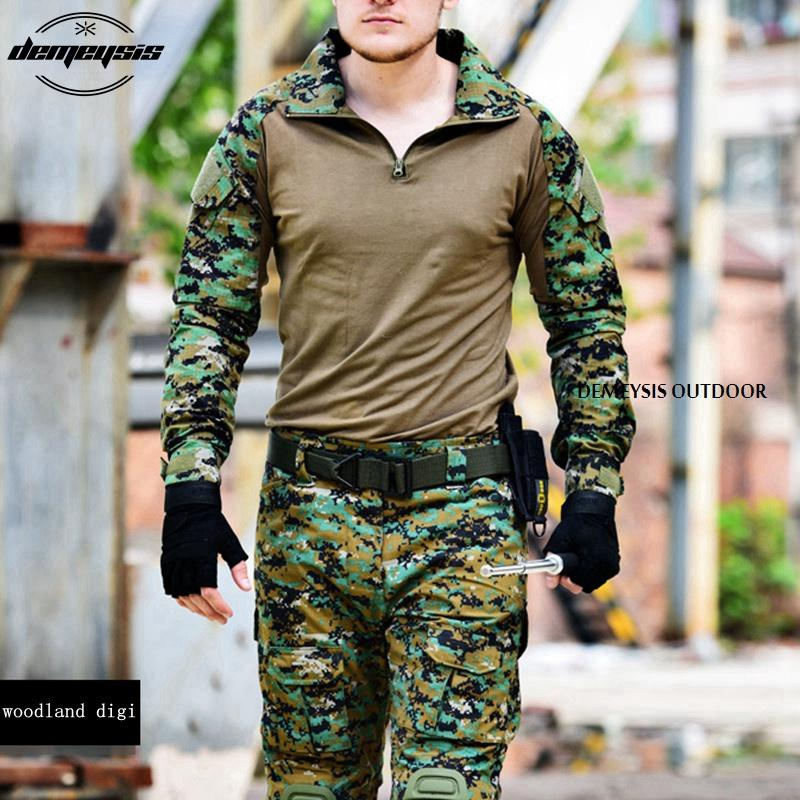 b00acc2ca91d2 2019 Woodland Digital Army Uniform Camouflage Tactical Combat Suit War Game  Clothing Shirt + Pants Elbow Knee Pads From Kupaoliu
