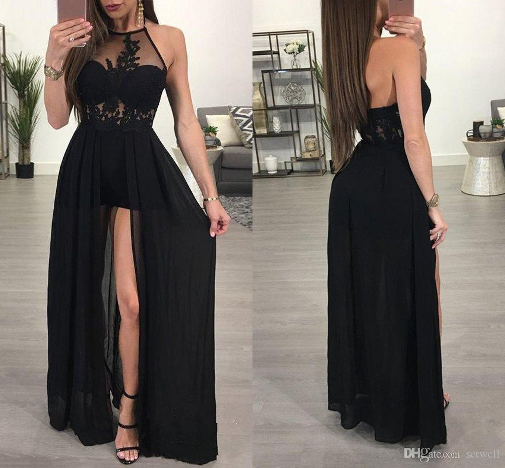 2018 Sexy Black Split Prom Dresses See Through Halter Evening Party Gowns Lace Applique Chiffon Formal Occasion Dress