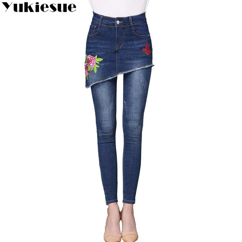 a674c36f222 Embroidery Jeans Female 2017 High Wasit Vintage Denim Jeans Woman Skinny  Long Pencil Pants Skirts Women Plus Size UK 2019 From Pingpo