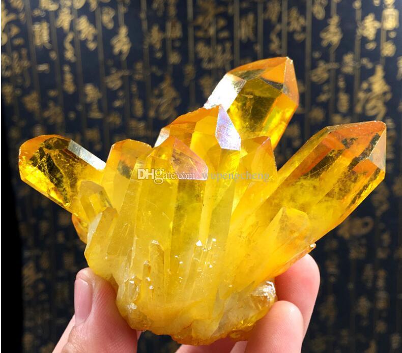 about 300g Citrine cluster, topaz Aura Quartz Crystal Titanium Bismuth Silicon coating Cluster Rainbows Natural Drusy Stones Minerals