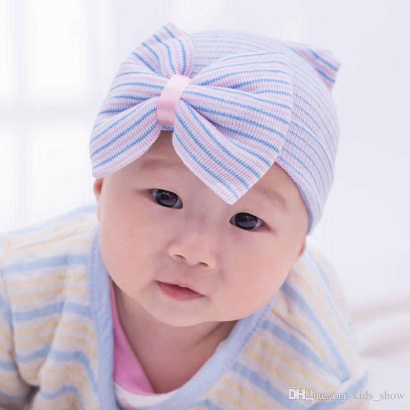 neugeborenes Baby häkeln Beanie Hüte Kleinkind Kind stricken Haar Zubehör Säuglings junge Mütze Baby Winter Baumwolle Fotografie Caps Baby Haar Bogen Mützen