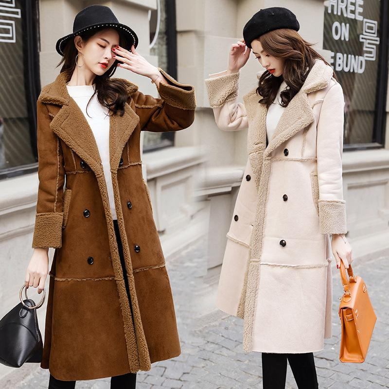 Compre Nueva Moda Mujer Abrigos De Piel De Oveja De Invierno Chaquetas De  Cuero De Gamuza Sintética Talla Grande Escudo Suelto Medio Abrigo De Lana  De ... a721e408ab15