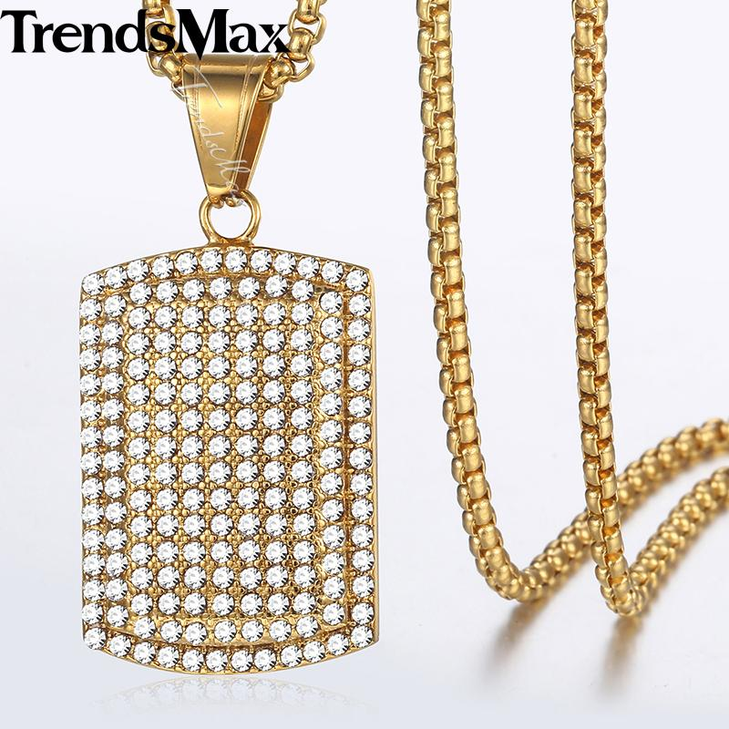 Trendsmax Dog Tag Mens Pendant Necklace Gold Tone Full Iced Out CZ Stainless Steel Pendant Necklaces For Men Jewelry 3mm KKN587