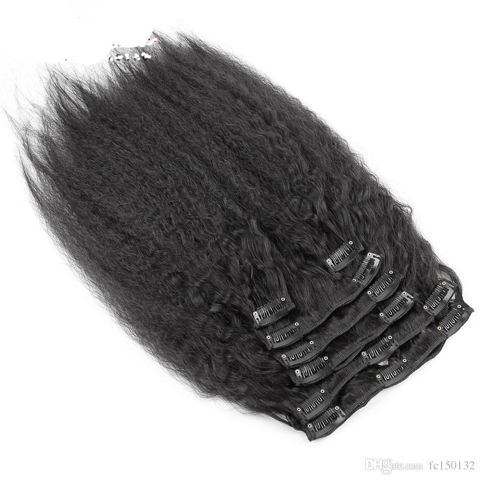 Cheap Clip In Human Hair Extensions Natural Black hair yaki clip in extensions kinky straight clip in extensions 120g