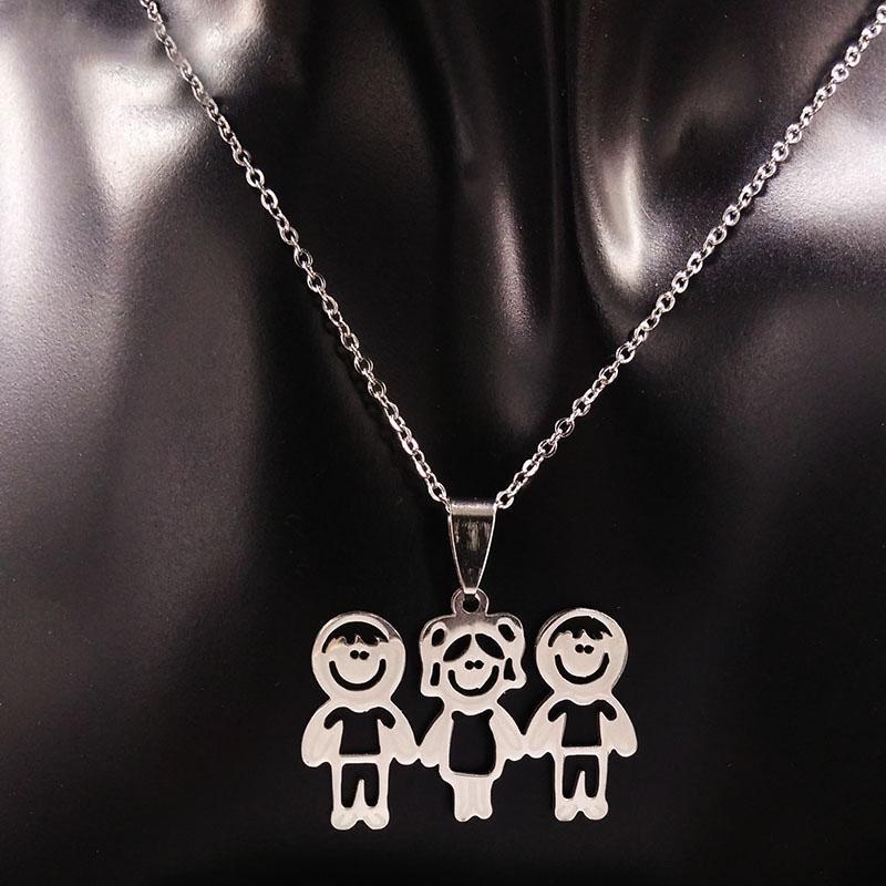 f927be13b64c Compre 10 Unids Venta Al Por Mayor Mama Y Niños Collares Declaración  Familia Niño Niña Colgantes Collar De Acero Inoxidable Joyería Mujeres  Niñas NW1 A ...