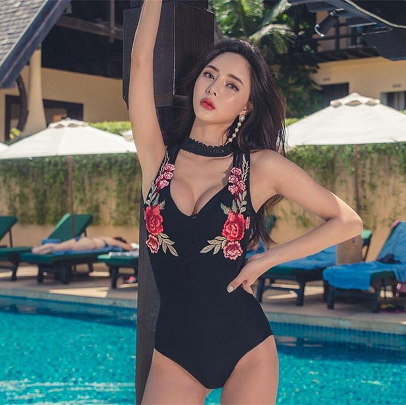 4fe76a19ff 2019 Sexy One Piece Swim Suits Lady Bikini 2017 Swimwear Female One Piece  Swimsuit Floral Embroidery Backless Mesh Plavky Damy Maio From Zhusa