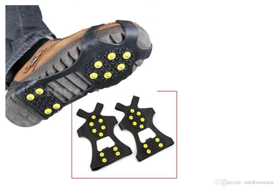 10 Stud S M L XL Universale Ice Antiscivolo Racchette da neve Spikes Grip Tacchetti ramponi Inverno Arrampicata Safety Tool Antiscivolo Copriscarpe