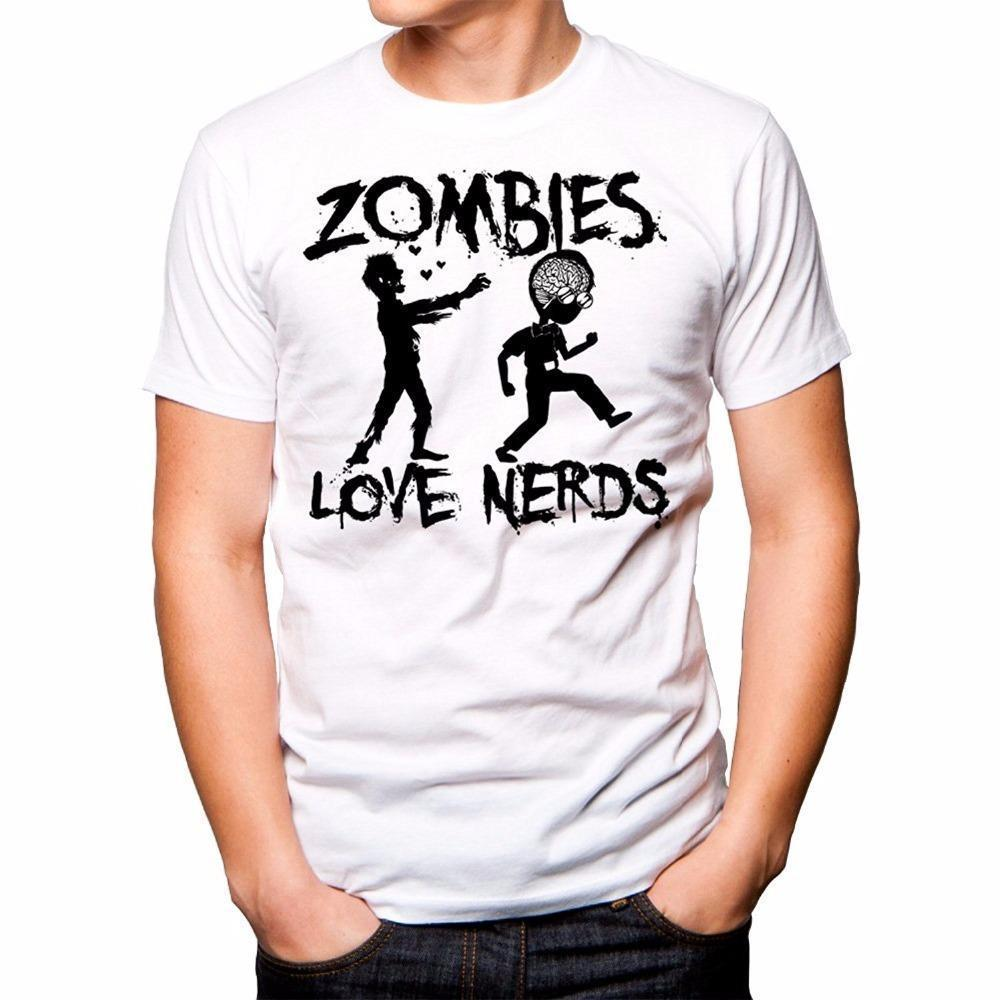 3e4e9368d 100% Cotton Print Crew Neck TWO SLEEVES Men'S Zombies Loves Nerds Shirt  Short Sleeve Compression Mens T Shirts Tees Cool T Shirts From Amesion81,  ...