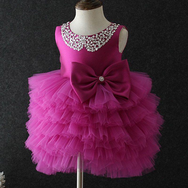 25fd0b544bcb5 Baby Girls Diamond Dresses Summer Children Clothing Girls Princess Flower  Lace Dresses Bows Tutu Kids Wedding Party Girls Clothes Little Girls Flower  Girl ...