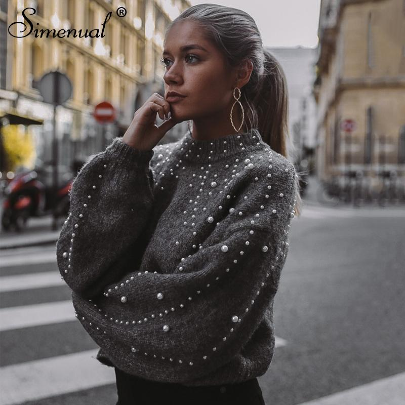 f36416d2e5 Simenual Autumn Winter 2018 Women Sweaters And Pullovers Bead Lantern Sleeve  Knitted Sweater Pullover Female Grey Slim Jumpers Y1891804 UK 2019 From ...