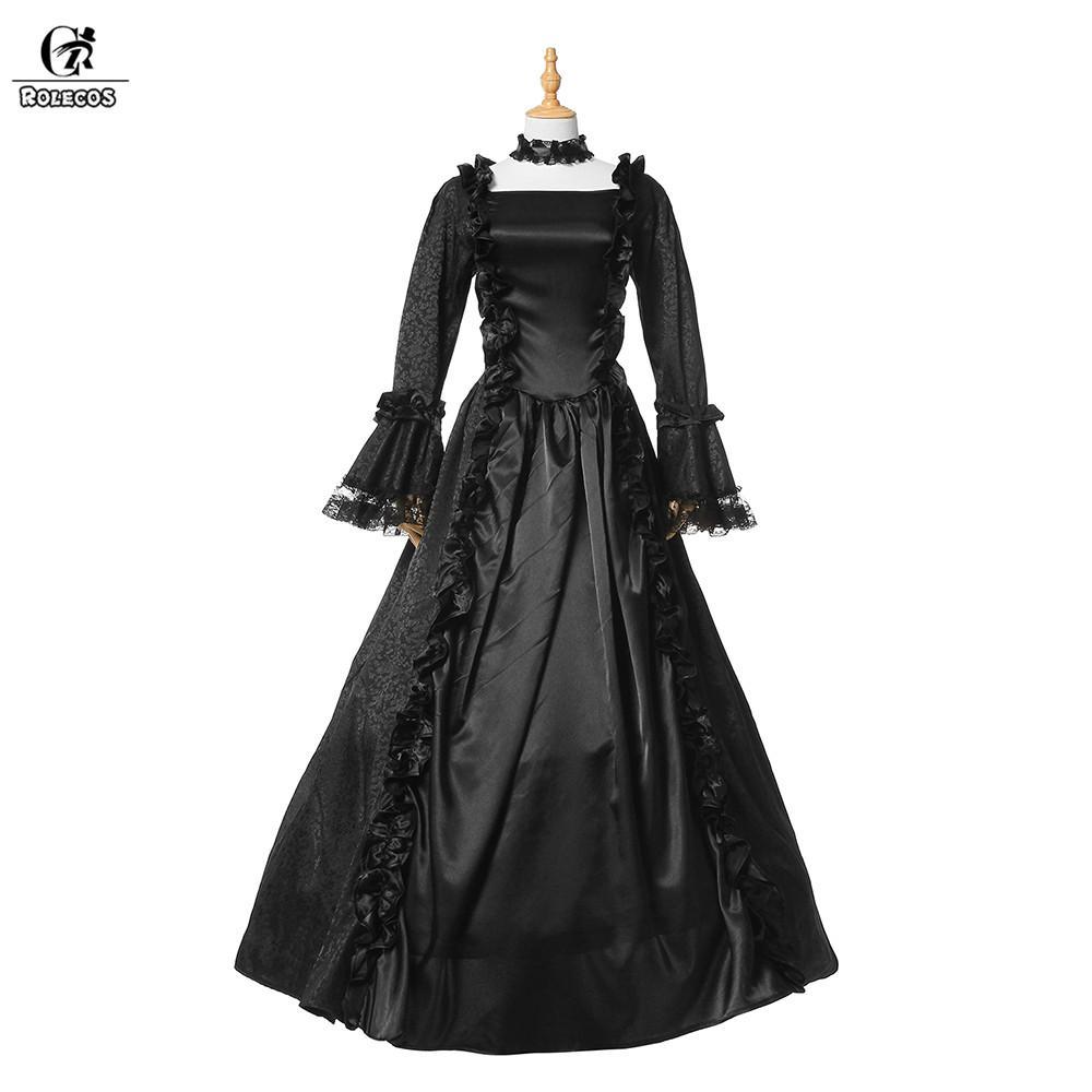 Gothic Lolita Retro Party Ärmeln Frauen Mit Vintage Vollen Langes Schwarz Kleid 2017 Viktorianischen Für Rolecos kwP0OX8n