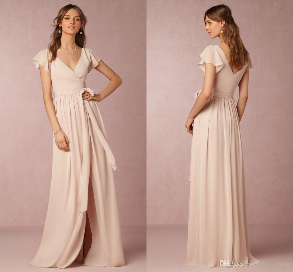 2018 Bridesmaid Dresses Prom Dresses Blush Chiffon Bridesmaids ...