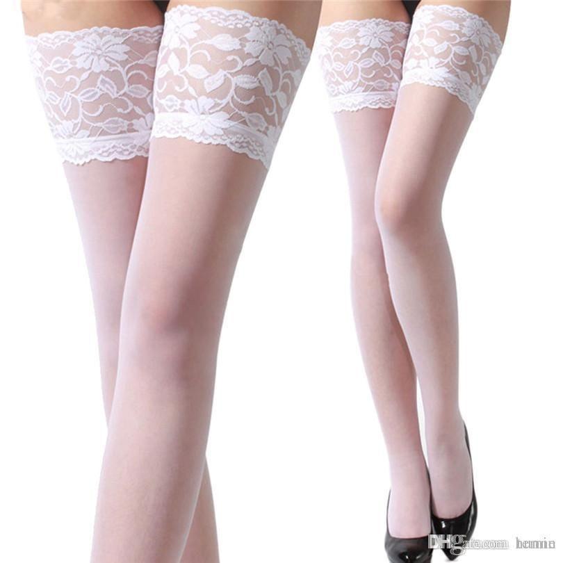 b983b3ee5f6 Wholesale-Durable 2015 Hot!!! New Women Repair Leg Show Thin Lace Thigh  High Silk Stockings Fast Shipping