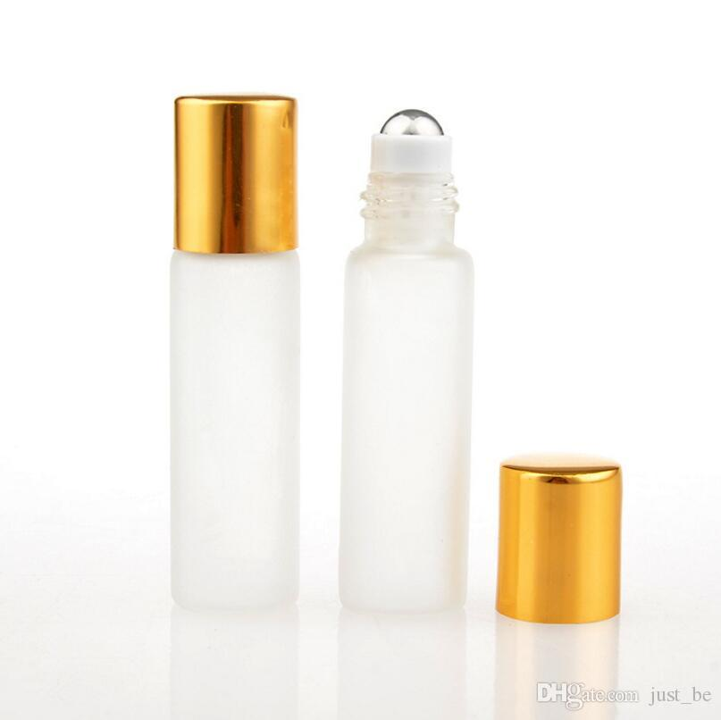 5ML Frosted Glass Roll On Perfume Bottle Empty Essential Oils Cosmetic Containers With Steel Beads LX1278