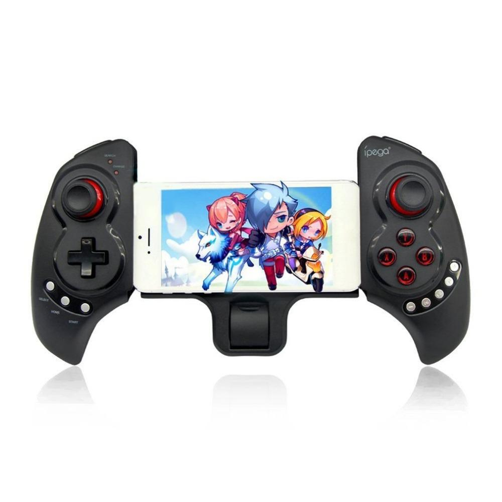 newest 2c2e9 7a531 PG9023 Bluetooth Game Controller Gamepad Telescopic Stand Design Joystick  with Stretch Bracketfor iPhone6 Plus iOS Android MQ 5
