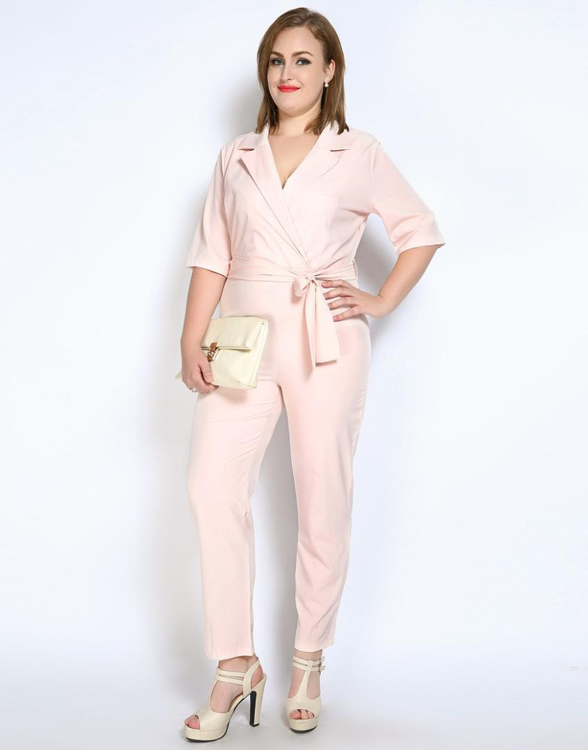 elegant shoes volume large special section Cute Ann Women's Plus Size Summer Casual Jumpsuits And Rompers Sexy V-neck  Full Length Party Evening Pants With Sashes
