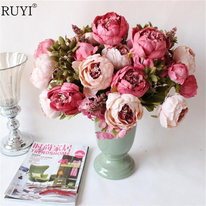 2018 silk peony flowers bouquet artificial fall vivid peony wedding