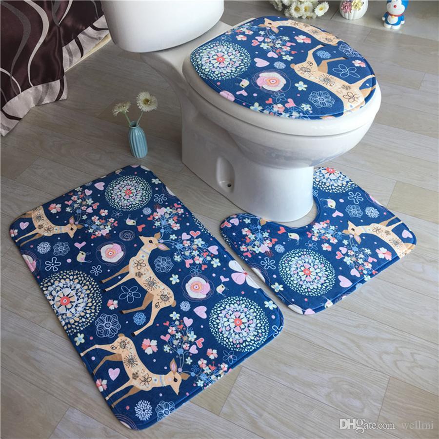 2018 Bath Mats Flannel Anti Slip Bathroom Mat Set Cartoon Style ...