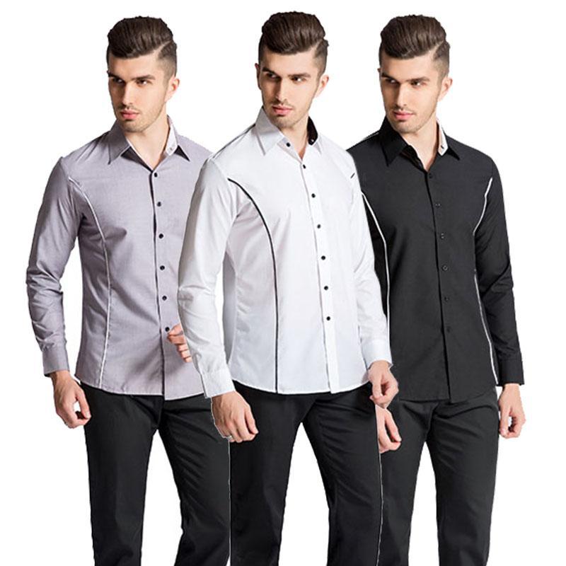 9560224cddd4 2019 2018 New Fashion Casual Men Shirt Long Sleeve Mandarin Collar Slim Fit  Shirt Men Korean Business Mens Dress Shirts Clothes 8 From Bida Jany, ...