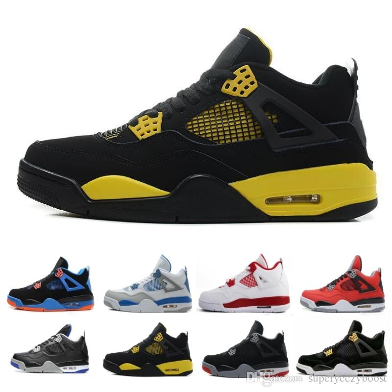 the latest 24b65 0be2e Acheter Pas Cher Nike Air Jordan 4 Hommes Chaussures De Basket Ball  Sneakers Noir Jaune Blanc Ciment Pure Money Bred Royalty Jeux Royal 4s  Chaussures De ...