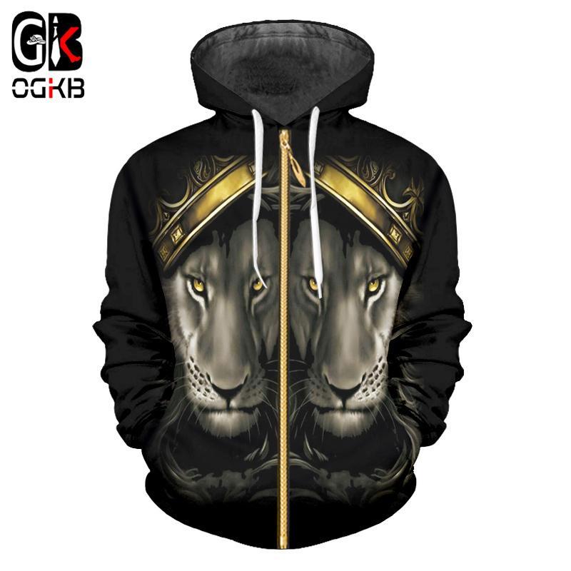 brand new c2dd5 053ca OGKB neue Mode coole Sweatshirt Hoodie Herren Damenbekleidung 3D Löwen  König Krone Hoodie Straße Reißverschluss drucken
